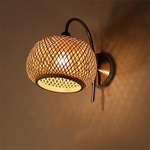 Mei Nachtlicht Einfache, moderne japanischen Stil geflochtenem Bambus Schatten LED-Nachttischlampe Wohnzimmerlampe Schlafzimmer Balkon Gang Chinesische Mauer Energiesparlampe (Schatten Bambus-designer)