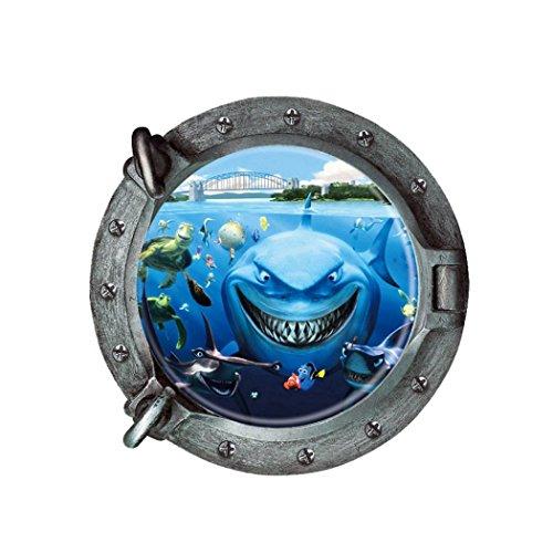 Jamicy® Wandtattoo, fantastischen u-Boot-Bullaugen Fisch Unterwasser Welt Wand Aufkleber Home Decor ()