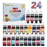 Coloranti Alimentari - 24 Colori di Colorante Alimentare Liquido Concentrati per Cuocere, Decorare, Colorare Zucchero Fondente e Cucinare 6ml