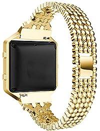 Classicase Compatible avec Fitbit Blaze Bracelet de Montre en Acier Inoxydable (Or)