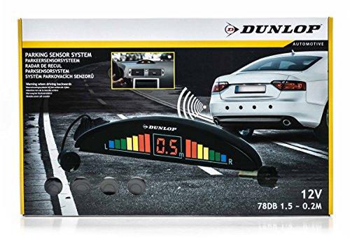 Auto Rückfahrwarner von Dunlop zum Nachrüsten, Digital-Anzeige (links/rechts) und Piepton,4 Sensoren, inklusiveBohrer, einfache Montage, 12V/4W