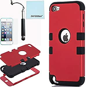 iPod Touch 5th 6th Generation Case, iPod Touch 5/6 Case Genuine ZAFOORAH Hybrid Shockproof Hard Defender 3 Layers with 3 Bonus items Stylus, Screen Protector, Microfiber Cloth (Double Clip - 3 Layers - Red/Black)