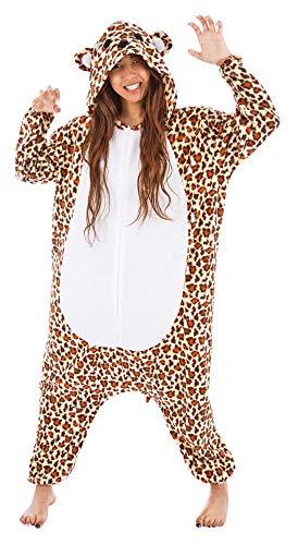 Kigurumi Skikostüm Leopard für Damen - 164cm - Plüsch Verkleidung Tierkostüm Karneval Mottoparty Festival