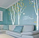 tellMeo onehouse Birke Baum Wand Aufkleber Weiß AST Baum mit Yellow Leaves Nature Baum Wand Schablone Kinder Baby Kinderzimmer Aufkleber Art Wand
