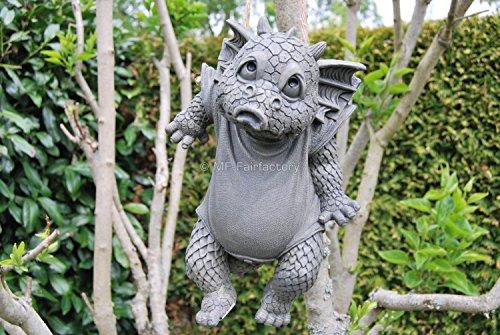 Süsser Gartendrache Waschtag zum hängen Drache Figur Gartenfigur 28 cm