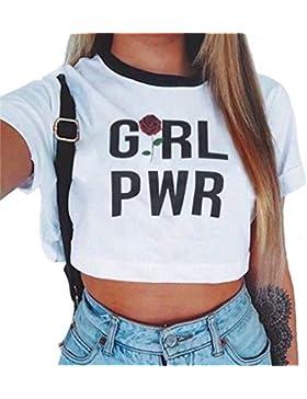 Baijiaye Camiseta Para Mujer Patrón Impreso Crop Top Chica Joven Casual De Moda Media Cintura Top Corto Blusas...