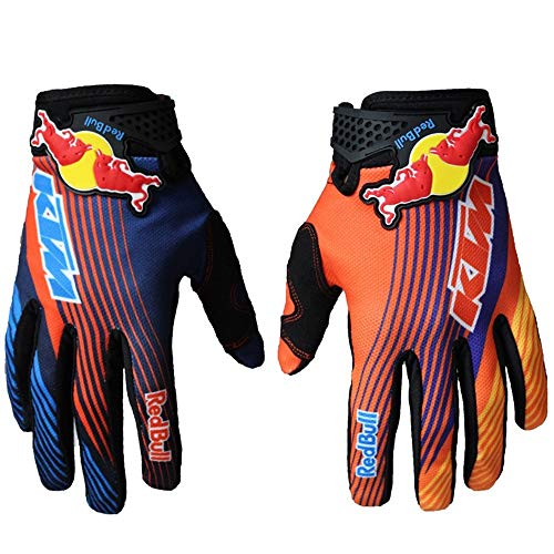 LIXUE Gloves Guanti da Cross per Moto da Cross in Bicicletta Guanti da Sport Outdoor Antiscivolo Traspiranti, Primavera Estate Guanti da Red Bull Team Full Finger Uomo Donna KTM Grigio/Blu