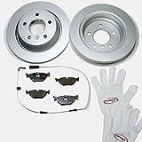 Autoparts-Online Set 60006065 Bremsscheiben belüftet beschichtet/Coated + Bremsbeläge + Warnkontakt für hinten/für die Hinterachse