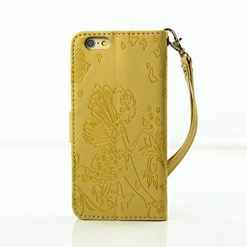 Coque iPhone 6S,Coque iPhone 6,Etui iPhone 6S, Etui iPhone 6, ikasus® iPhone 6/6S Étui Housse en Cuir Case, Fleur Gaufrage de papillon Fée Angel Girl avec Shiny Glitter strass cristal de diamant Etui  Diamant Flower Fée: Jaune