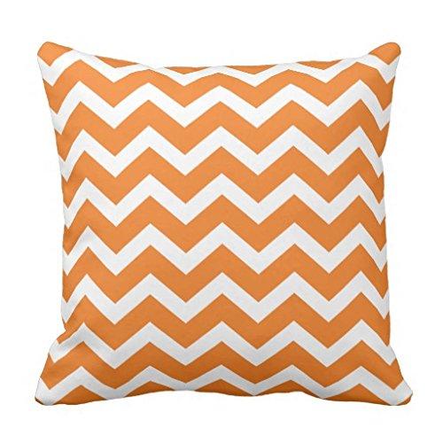 Federa 18x 18canvas Pillow Covers con cerniera arancione chevron Stripe piazza divano cuscino decorativo 45,7x