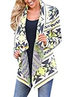 Generic Women's Print Drape Open Front Striped Cable Knit Cardigan Sweaters M Yellow