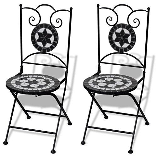 Mosaik Bistro Stuhl (lingjiushopping Mosaik Bistro Stuhl schwarz/weiß 2Stück Farbe: Schwarz/Weiß Material: Gestell Eisen pulverbeschichtet + Keramik Sitz)