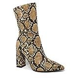 Angkorly - Damen Schuhe Stiefeletten Stiefel - Flexible - Böhmen - Biker - Schlangenprint - Modern Blockabsatz high Heel 10 cm - Beige B8997 T 40