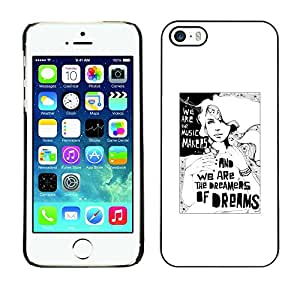 Omega Covers - Snap on Hard Back Case Cover Shell FOR Apple iPhone 5 / 5S - Dreams Dreamer Poster White Black Minimalist