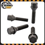 Haskyy 10 Radschrauben Radbolzen Schwarz Kegelbund Kegel M12x1,5 in Verschiedenen Schaftlängen zur Auswahl (24mm)
