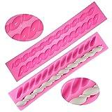 Moldes de cuerda de silicona Fondant Twist, forma de buñuelo, FineGood 2 paquetes de herramientas de cocina de pasta de azúcar decoración de pasteles - rosa