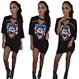 ALAIX Women's Hollow Out Casual half sleeve Deep-v Neck Skull Print T-shirt Dresses Black-XL