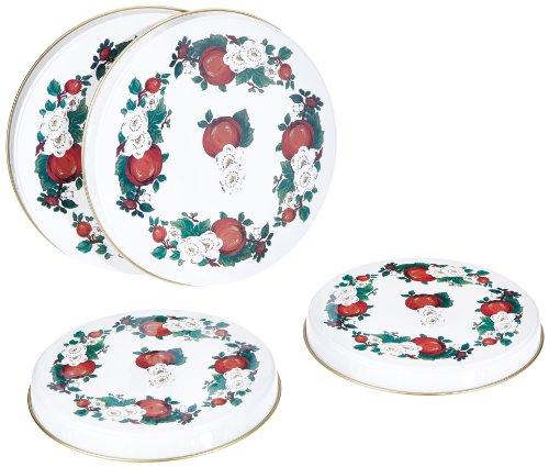 axentia Kochplattenabdeckung, 4 teilig, Abdeckung für Herdplatten, 2 x 16 cm und 2 x 20 cm, Abdeckung mit klassisches Design, Metall, sortierte Muster