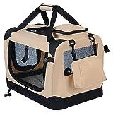 WOLTU HT2026gr Hundebox Hundetransportbox Auto Transportbox Reisebox Katzenbox mit Hundedecke faltbar 60x42x42cm, Grau