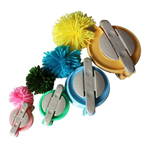 4-tlg. Kunststoff Pom Pom Maker Set mit Verschiedenen Größen von Curtzy - 10, 8.5, 6, 5cm Bommel Maker - DIY Plüschige Pom Poms für Dekorationen, Girlanden, Charms und Mehr - Einfach zu Verwenden (Fransen-trikot)