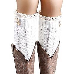 """Calcetines,RETUROM la moda de las mujeres populares """"s caliente del invierno de lana suave del cordón de la torcedura hecha punto de arranque calentadores de la pierna Calcetines (D)"""