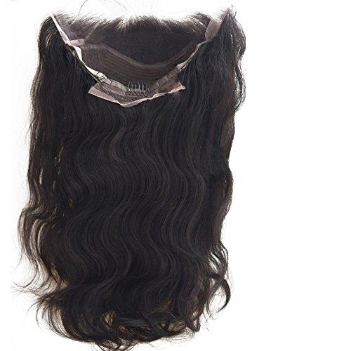 FYX Perruque la Dentelle Perruque Devant,100% Brésilien Extension Virginal Humain Cheveux 100%,,Couleur Naturel body wave/corps vague Noir,Pour Femme(16\\