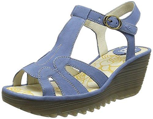 FLY London Yini727, Sandales compensée Femme Bleu (Smurf 006)
