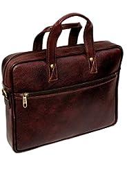 "AYS Stylish 14.5"" Genuine Pure Leather Laptop Sleeve Messenger Office Bag"