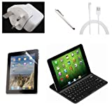 NewNow Aluminum Wireless Bluetooth Keyboard Case Cover (Black) for iPad Mini 2012 16G 32G+12W USB AC Wall Charger Plug UK Adapter for all Iphone Ipad Ipod+8Pin cable+Screen Protector for ipad mini+Universal Touch Screen Stylus Pen