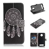 COWX Leder Kreditkarten Brieftasche Handy Schutzhülle für Motorola Moto Z3 Play Hülle Tasche Flip Case (TXM03)