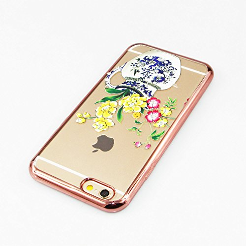 iPhone 6S Plus Hülle Silicone,iPhone 6S Plus Hülle Glitzer,iPhone 6S Plus / 6 Plus Hülle TPU Case Schutzhülle Silikon Crystal Clear Case,EMAXELERS iPhone 6S Plus Hülle Bunte Blumen Schmetterling Muste Gold TPU 9