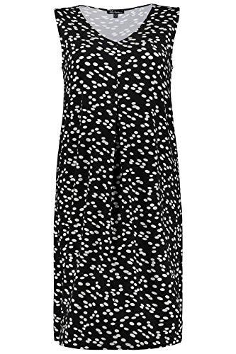 Ulla Popken Damen große Größen bis 64, Ärmelloses Kleid, Homewearkleid, Tupfen-Muster, V-Ausschnitt, Bequeme Passform, schwarz 46/48 718746 10-46+