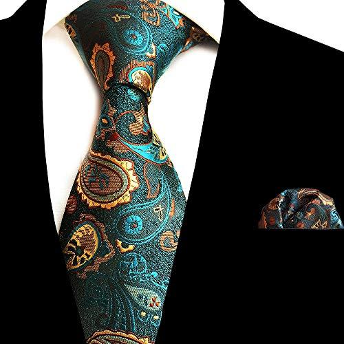 Punkt-kragen-gestreifte Krawatte (SHIJING Ricnais New Floral Herren Krawatte Taschentuch Set Jacquard Gewebte Seidenkrawatte 8cm Gestreifte Paisley Krawatte für Herren Anzug Business Hochzeit,2)