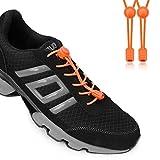 Gutsbox Elastische Schnürsenkel mit Schnellverschluss Schnellschnürsystem mit Einzigartigem Komfort, perfektem Sitz und Starken Halt für Schuhe Damen,Herren und Kinder(Orange)