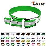 LENNIE Halsband mit Dornschnalle, 19 mm breite BioThane, Größe 34-40 cm, Neon-Grün-Reflex, Aufdruck möglich, 4 Größen, 48 Farben
