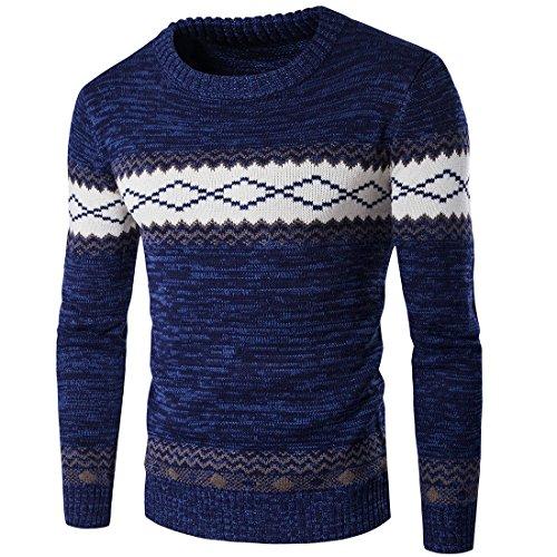 Homme Pull Casual DéContracté LâChe Style Nationalité Pullover Tricot Slim Pas Cher à La Mode Chic Chemisier Pin Up Tops Hiver Chaud Sweater (2XL, Bleu Marine)