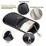 Gritin Car Key Signal Blocker Pouch, [2-Pack] Keyless Car RFID Signal Blocking Case - PU Leather Antitheft Keyless Entry Fob Guard for Car Keys