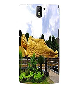 Fuson 3D Printed Lord Buddha Designer Back Case Cover for OnePlus One - D558