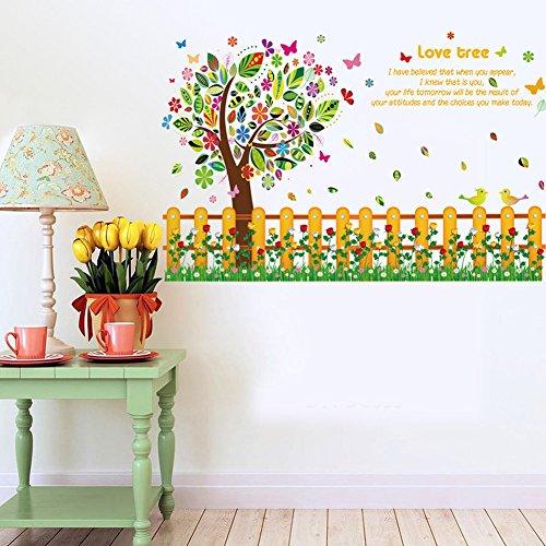 Preisvergleich Produktbild Wallpark Bunt Groß Baum Blume Zaun Scheuerleiste Abnehmbare Wandsticker Wandtattoo, Kinder Kids Baby Hause Kinderzimmer DIY Dekorativ Kunst Wandaufkleber