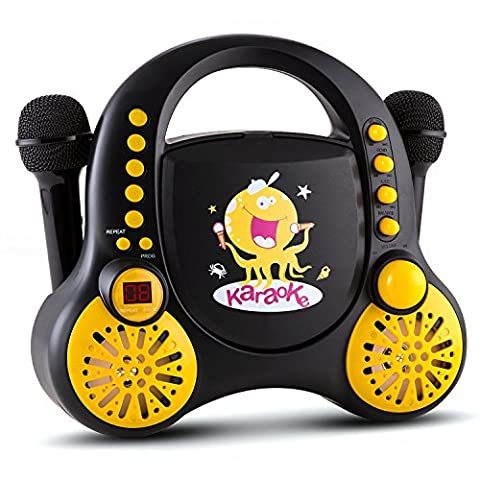 Auna Rockpocket Kids Karaoke Player System CD AUX 2 x Microphone Sticker Set Stereo Speakers (Carrying Handle On the Top, Rounded Body Design with No Sharp Corners, Customisable) Black