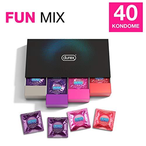 Durex Fun Explosion Kondome in stylischer Box - Aufregende Vielfalt, praktisch & diskret verpackt - Verhütung, die Spaß macht - 40er Großpackung (1 x 40 Stück)