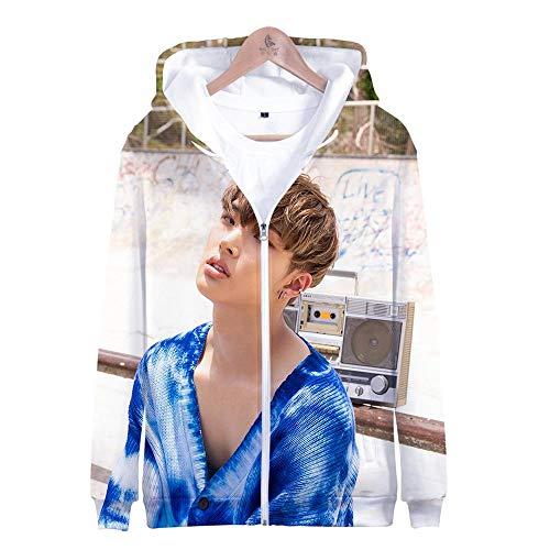 Kapuzenpullover,Unisex 3D Gedruckte Song Und Dance Kombination Thema Jugend Kapuzen Sweatshirt Hoodie Lose Beiläufige Reißverschluss Paar Shirt, Ateez, 2XL