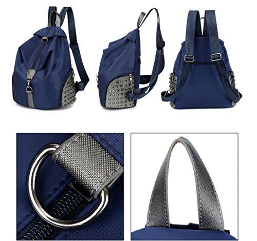 LAIDAYE Nylon Schultertasche Damen Wasserdicht Casual Tasche Reisetasche Damen Rucksack Blue