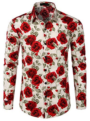 WHATLEES Urban Classic Herren Hemd Langarm Shirt Freizeit Blumenhemd Party Regular fit Hemd für Männer ()