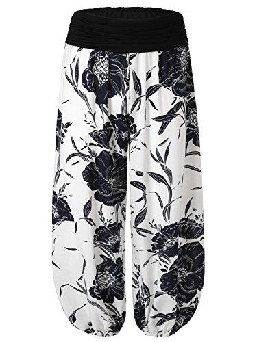 BAISHENGGT Damen Pumphose Haremshose Blumenmuster Lange Hose Weiss-2 XL