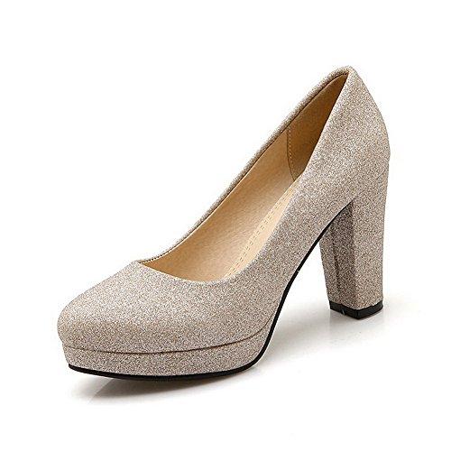 AllhqFashion Damen Weiches Material Rund Zehe Ziehen Auf Rein Pumps Schuhe Cremefarben
