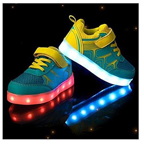 Sneakers Mdchen Led Handtuch present junglest® Leuchtet Athletische Kinder kleines Blau Bunte Jungen Sportschuhe qvnCF