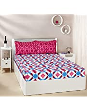 Solimo Kaleidoscope Dreams 144 TC 100% Cotton Double Bedsheet with 2 Pillow Covers, Magenta and Blue