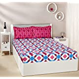 Amazon Brand - Solimo Kaleidoscope Dreams 144 TC 100% Cotton Double Bedsheet With 2 Pillow Covers, Magenta And Blue