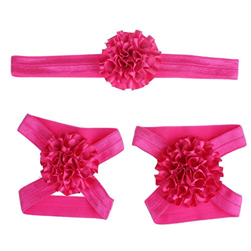 Ziory Baby Boy's and baby Girl's Soft Fabric Wrap Elastic Flower Headband & Barefoot Sandals